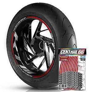 Adesivo Friso de Roda M1 +  Palavra ADVENTURE 640 ST + Interno G KTM - Filete Vermelho Refletivo