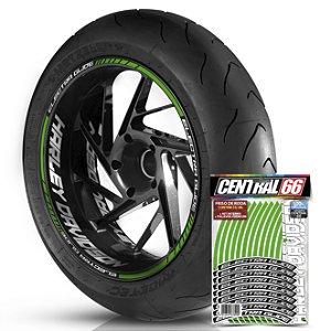 Adesivo Friso de Roda M1 +  Palavra ELECTRA GLIDE + Interno G Harley Davidson - Filete Verde Refletivo
