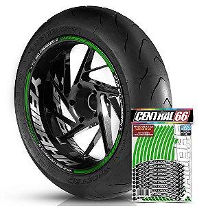 Adesivo Friso de Roda M1 +  Palavra XTZ 150 CROSSER S + Interno G Yamaha - Filete Verde Refletivo