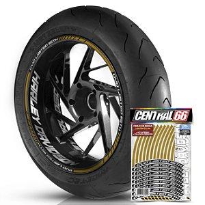 Adesivo Friso de Roda M1 +  Palavra CVO LIMITED 115 TH + Interno G Harley Davidson - Filete Dourado Refletivo