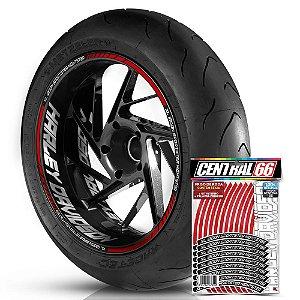 Adesivo Friso de Roda M1 +  Palavra XL 1200N SPORTSTER NIGHTSTER + Interno G Harley Davidson - Filete Vermelho Refletivo