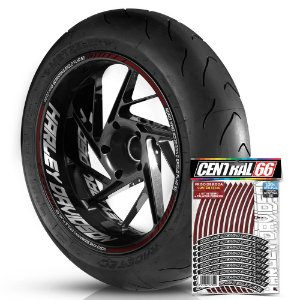 Adesivo Friso de Roda M1 +  Palavra ROAD KING SCREAMING EAGLE FLHR SE + Interno G Harley Davidson - Filete Vinho