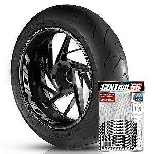 Adesivo Friso de Roda M1 +  Palavra CB 600F HORNET + Interno G Honda - Filete Prata Refletivo
