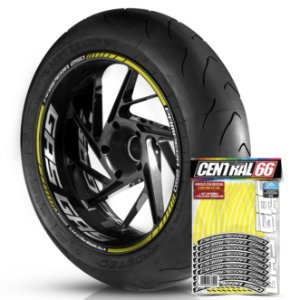 Adesivo Friso de Roda M1 +  Palavra PAMPERA 250 + Interno G Gas Gas - Filete Amarelo