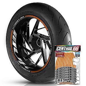 Adesivo Friso de Roda M1 +  Palavra STREET 150 + Interno G MVK - Filete Laranja Refletivo