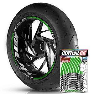 Adesivo Friso de Roda M1 +  Palavra STREET 150 + Interno G MVK - Filete Verde Refletivo