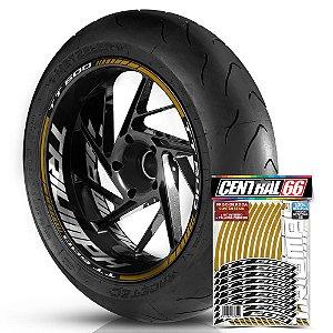 Adesivo Friso de Roda M1 +  Palavra TT 600 + Interno G Triumph - Filete Dourado Refletivo