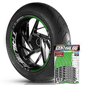 Adesivo Friso de Roda M1 +  Palavra TT 600 + Interno G Triumph - Filete Verde Refletivo