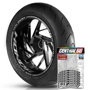 Adesivo Friso de Roda M1 +  Palavra NX 200 + Interno G Honda - Filete Prata Refletivo