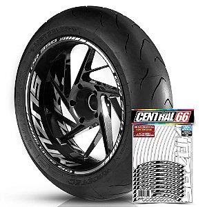Adesivo Friso de Roda M1 +  Palavra DR 350 + Interno G Suzuki - Filete Branco