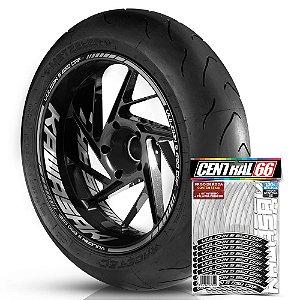 Adesivo Friso de Roda M1 +  Palavra VULCAN S 650 CAFE + Interno G Kawasaki - Filete Prata Refletivo