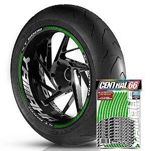 Adesivo Friso de Roda M1 +  Palavra XT 600R + Interno G Yamaha - Filete Verde Refletivo