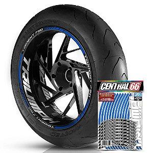 Adesivo Friso de Roda M1 +  Palavra TRIDENT 750 + Interno G Triumph - Filete Azul Refletivo