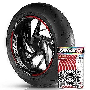 Adesivo Friso de Roda M1 +  Palavra TRIDENT 750 + Interno G Triumph - Filete Vermelho Refletivo