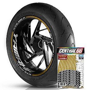 Adesivo Friso de Roda M1 +  Palavra XTZ 125 K + Interno G Yamaha - Filete Dourado Refletivo