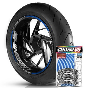 Adesivo Friso de Roda M1 +  Palavra BOLT 250 + Interno G Shineray - Filete Azul Refletivo