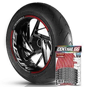 Adesivo Friso de Roda M1 +  Palavra LT F160 QUADRICICLO + Interno G Suzuki - Filete Vermelho Refletivo