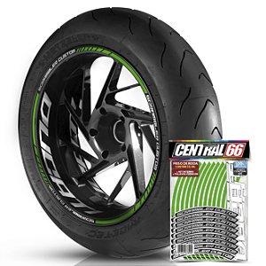 Adesivo Friso de Roda M1 +  Palavra SCRAMBLER CUSTOM + Interno G Ducati - Filete Verde Refletivo