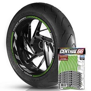 Adesivo Friso de Roda M1 +  Palavra Ktm EXC 250 + Interno G KTM - Filete Verde Refletivo