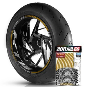 Adesivo Friso de Roda M1 +  Palavra EXC-F 300 SIX DAYS + Interno G KTM - Filete Dourado Refletivo