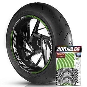 Adesivo Friso de Roda M1 +  Palavra SCRAMBLER ICON + Interno G Ducati - Filete Verde Refletivo