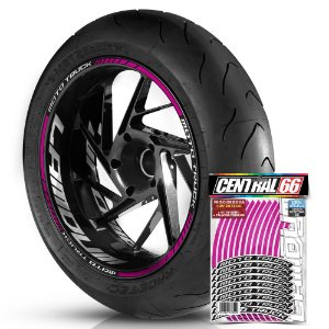 Adesivo Friso de Roda M1 +  Palavra MOTO TRUCK + Interno G Lamdum - Filete Rosa