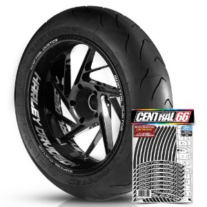 Adesivo Friso de Roda M1 +  Palavra SOFTAIL CUSTOM + Interno G Harley Davidson - Filete Preto