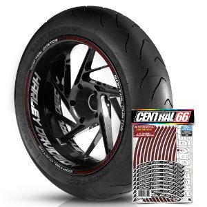 Adesivo Friso de Roda M1 +  Palavra SOFTAIL CUSTOM + Interno G Harley Davidson - Filete Vinho