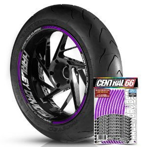 Adesivo Friso de Roda M1 +  Palavra ROAD KING CLASSIC + Interno G Harley Davidson - Filete Roxo
