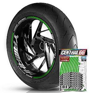 Adesivo Friso de Roda M1 +  Palavra WR 200 + Interno G Yamaha - Filete Verde Refletivo