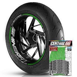 Adesivo Friso de Roda M1 +  Palavra XY 50-Q CROSS + Interno G Shineray - Filete Verde Refletivo