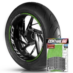 Adesivo Friso de Roda M1 +  Palavra SCRAMBLER URBAN ENDURO + Interno G Ducati - Filete Verde Refletivo