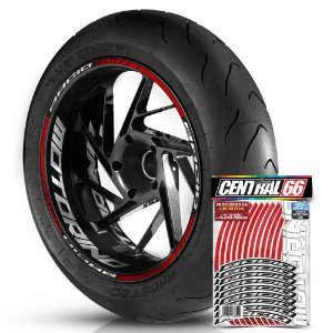 Adesivo Friso de Roda M1 +  Palavra BACIO + Interno G Motorino - Filete Vermelho Refletivo