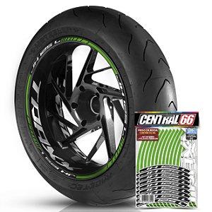 Adesivo Friso de Roda M1 +  Palavra Traxx JH 125 L + Interno G TRAXX - Filete Verde Refletivo