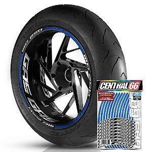 Adesivo Friso de Roda M1 +  Palavra MC 250 + Interno G Gas Gas - Filete Azul Refletivo