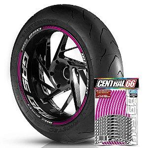 Adesivo Friso de Roda M1 +  Palavra MC 250 + Interno G Gas Gas - Filete Rosa