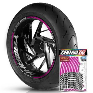 Adesivo Friso de Roda M1 +  Palavra XTZ 125 + Interno G Yamaha - Filete Rosa