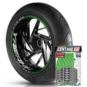 Adesivo Friso de Roda M1 +  Palavra XTZ 125 + Interno G Yamaha - Filete Verde Refletivo