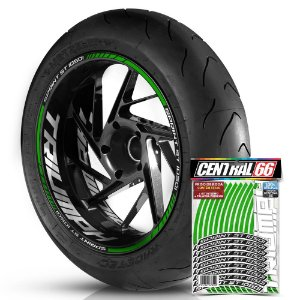 Adesivo Friso de Roda M1 +  Palavra SPRINT ST 1050i + Interno G Triumph - Filete Verde Refletivo