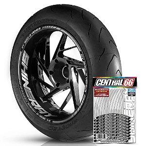 Adesivo Friso de Roda M1 +  Palavra XY 50Q-2 VENICE + Interno G Shineray - Filete Prata Refletivo