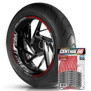 Adesivo Friso de Roda M1 +  Palavra V-ROD VRSCA + Interno G Harley Davidson - Filete Vermelho Refletivo