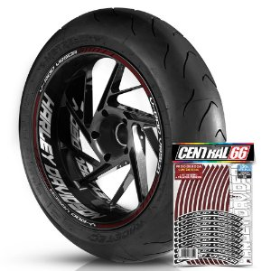 Adesivo Friso de Roda M1 +  Palavra V-ROD VRSCA + Interno G Harley Davidson - Filete Vinho