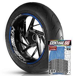 Adesivo Friso de Roda M1 +  Palavra VERSYS TOURER 650 + Interno G Kawasaki - Filete Azul Refletivo