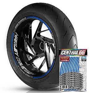 Adesivo Friso de Roda M1 +  Palavra V-ROD MUSCLE + Interno G Harley Davidson - Filete Azul Refletivo