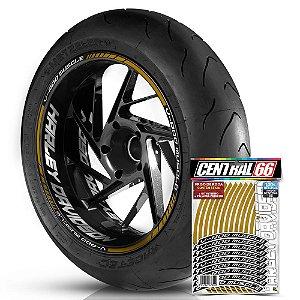 Adesivo Friso de Roda M1 +  Palavra V-ROD MUSCLE + Interno G Harley Davidson - Filete Dourado Refletivo