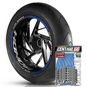 Adesivo Friso de Roda M1 +  Palavra XR 650 + Interno G Honda - Filete Azul Refletivo