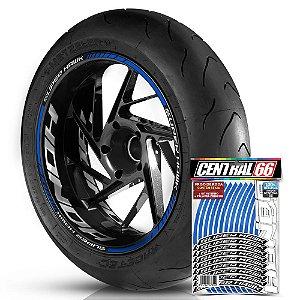 Adesivo Friso de Roda M1 +  Palavra SUPER HAWK + Interno G Honda - Filete Azul Refletivo