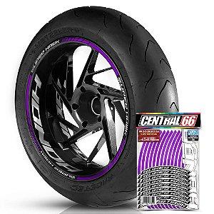 Adesivo Friso de Roda M1 +  Palavra SUPER HAWK + Interno G Honda - Filete Roxo