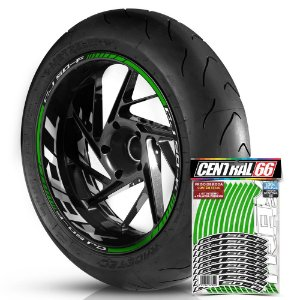 Adesivo Friso de Roda M1 +  Palavra Traxx CJ 50-F + Interno G TRAXX - Filete Verde Refletivo