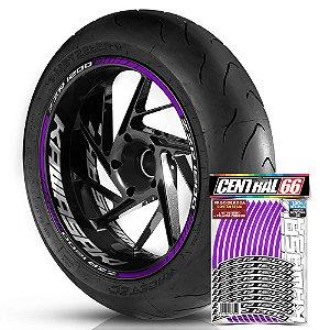 Adesivo Friso de Roda M1 +  Palavra ZZR 1200 + Interno G Kawasaki - Filete Roxo